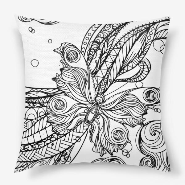 Подушка «бабочка и волны»