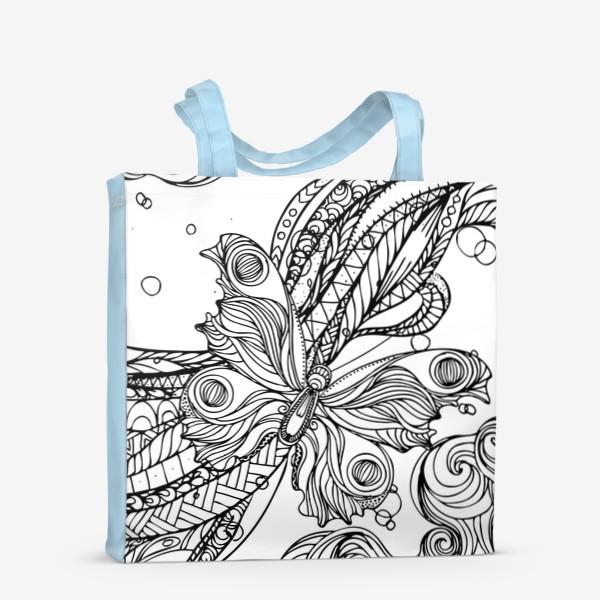 Сумка-шоппер «бабочка и волны»