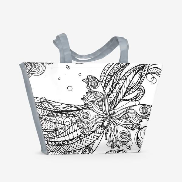 Пляжная сумка «бабочка и волны»