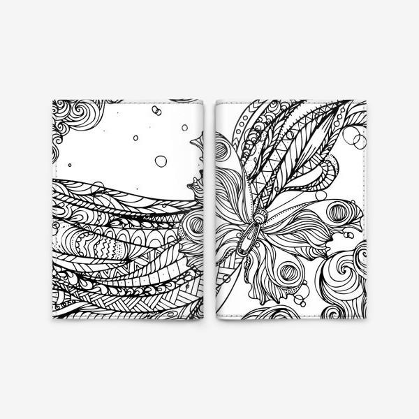 Обложка для паспорта «бабочка и волны»