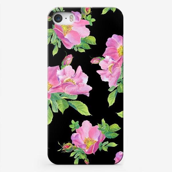 Чехол iPhone «Цветы шиповника на черном.»