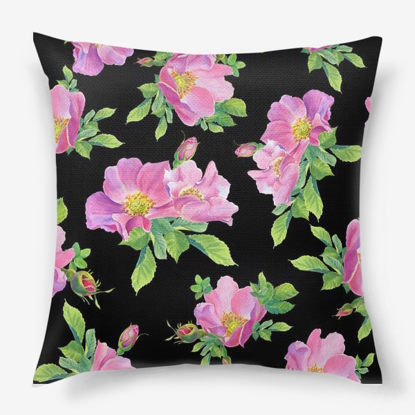 Подушка «Цветы шиповника на черном.»