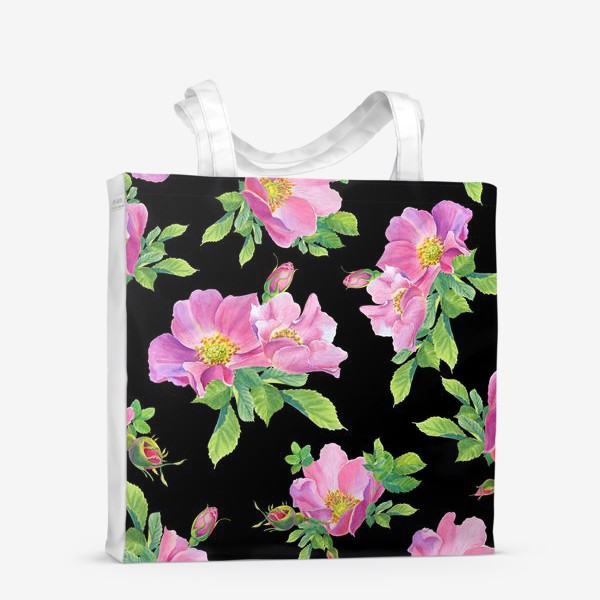 Сумка-шоппер «Цветы шиповника на черном.»