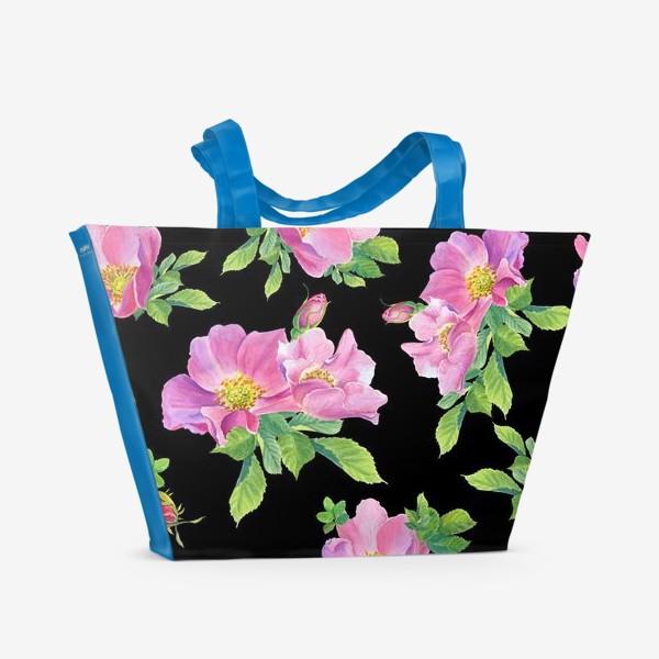 Пляжная сумка «Цветы шиповника на черном.»