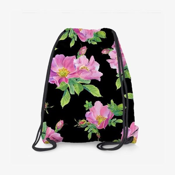 Рюкзак «Цветы шиповника на черном.»