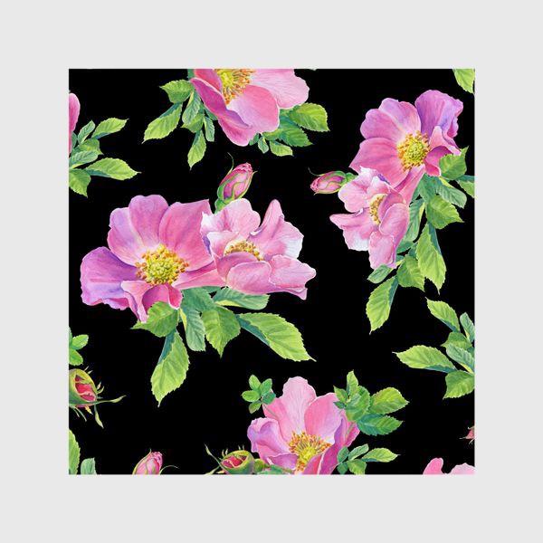 Шторы «Цветы шиповника на черном.»