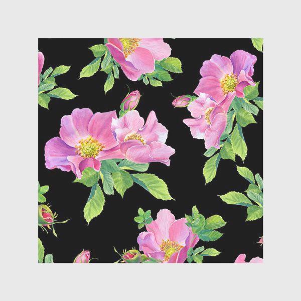 Скатерть «Цветы шиповника на черном.»