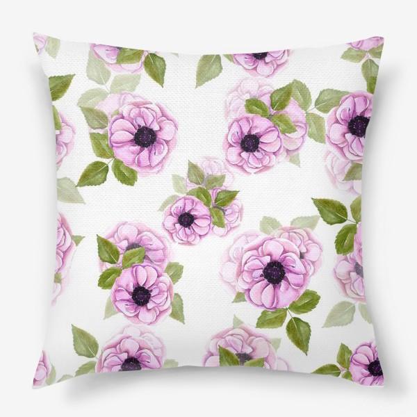 Подушка «Розовые анемоны с зелеными листьями»