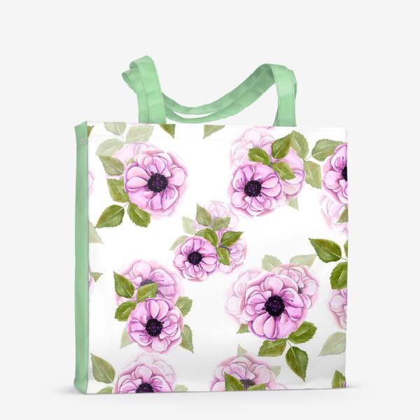 Сумка-шоппер «Розовые анемоны с зелеными листьями»