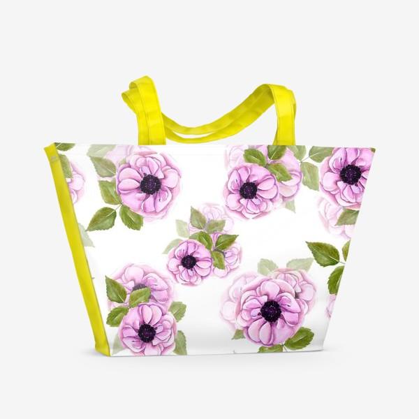 Пляжная сумка «Розовые анемоны с зелеными листьями»