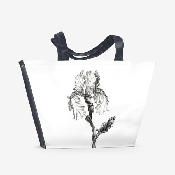 Пляжная сумка «Ирис. Черно-белая графика»