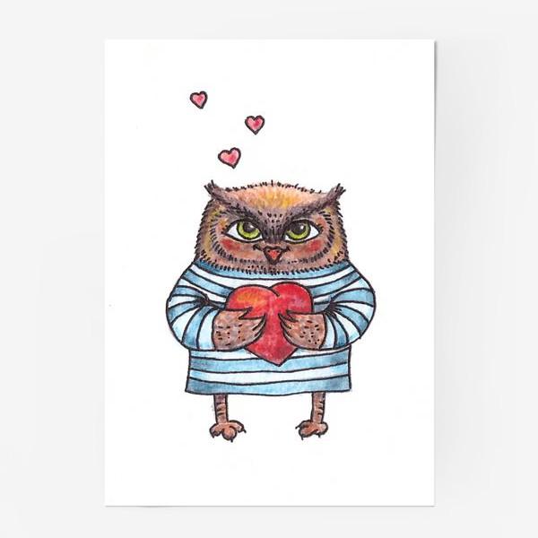 Постер «Совёнок в тельняшке с сердцем в руках»