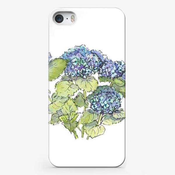Чехол iPhone «Цветок гортензия голубая. Акварельный летний ботанический скетч на белом фоне»
