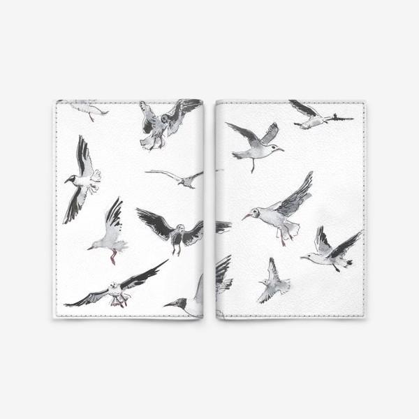 Обложка для паспорта «Чайки на белом фоне»