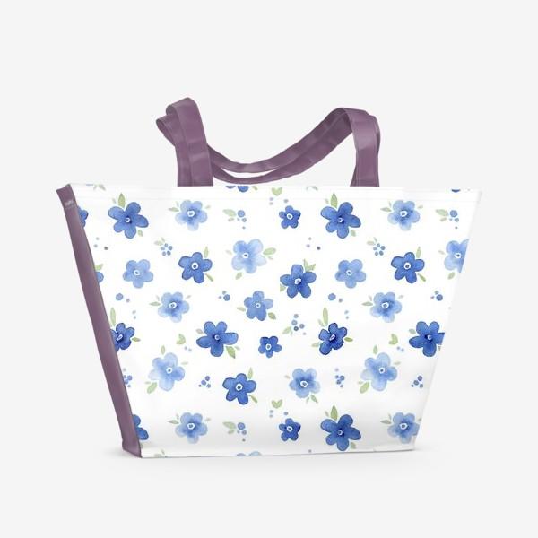 Пляжная сумка «Паттерн Незабудки»