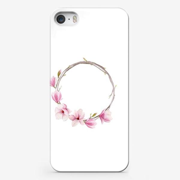 Чехол iPhone «Акварельный венок из магнолии»