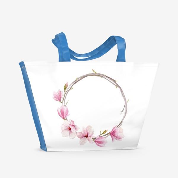 Пляжная сумка «Акварельный венок из магнолии»