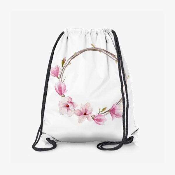 Рюкзак «Акварельный венок из магнолии»