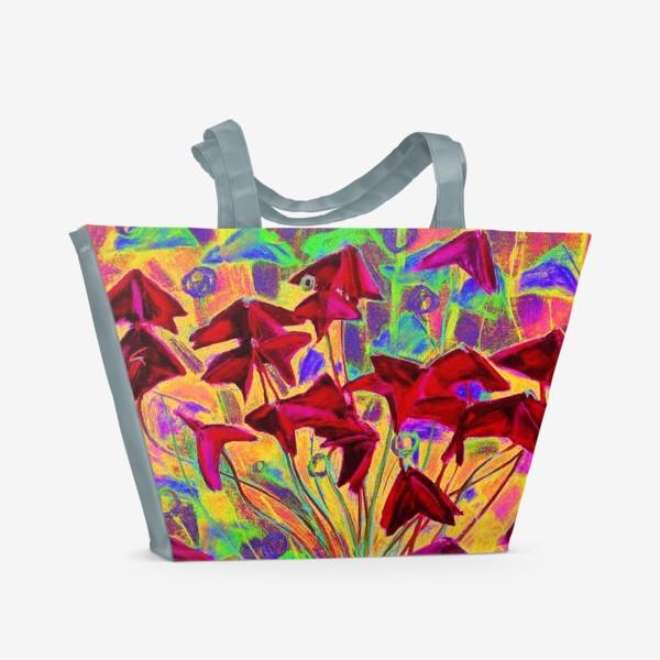 Пляжная сумка «Оксалис / Кислица (психоделическая версия)»