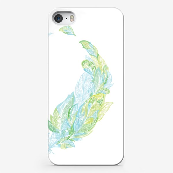 Чехол iPhone «Перо из узоров в зелено-голубых тонах»