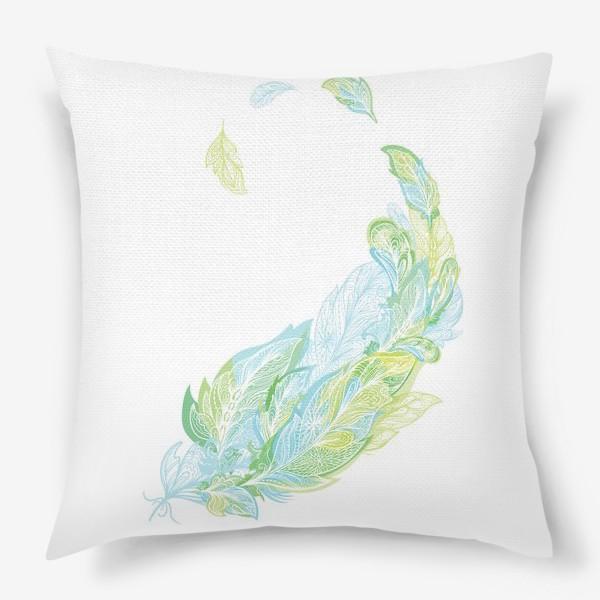 Подушка «Перо из узоров в зелено-голубых тонах»