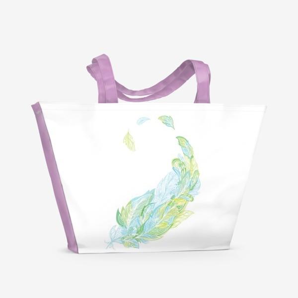 Пляжная сумка «Перо из узоров в зелено-голубых тонах»