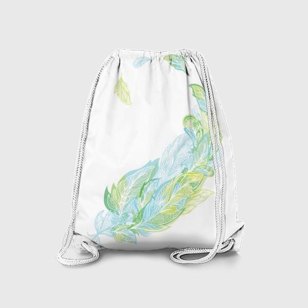Рюкзак «Перо из узоров в зелено-голубых тонах»