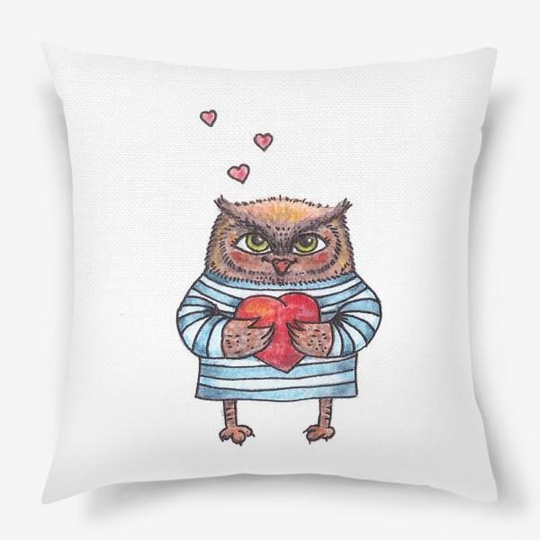 Подушка «Совёнок в тельняшке с сердцем в руках»