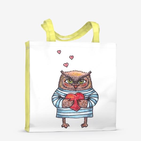 Сумка-шоппер «Совёнок в тельняшке с сердцем в руках»