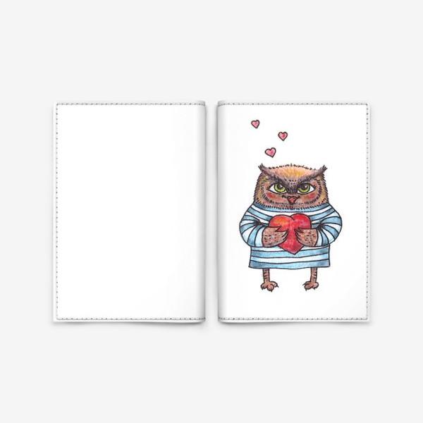 Обложка для паспорта «Совёнок в тельняшке с сердцем в руках»