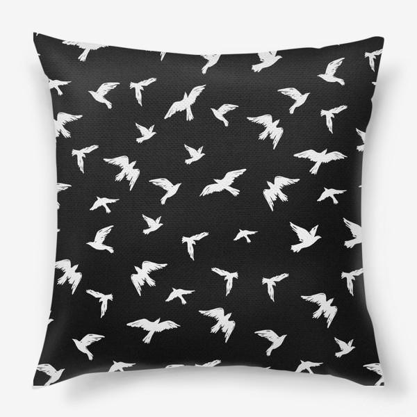 Подушка «Птицы на чёрном»