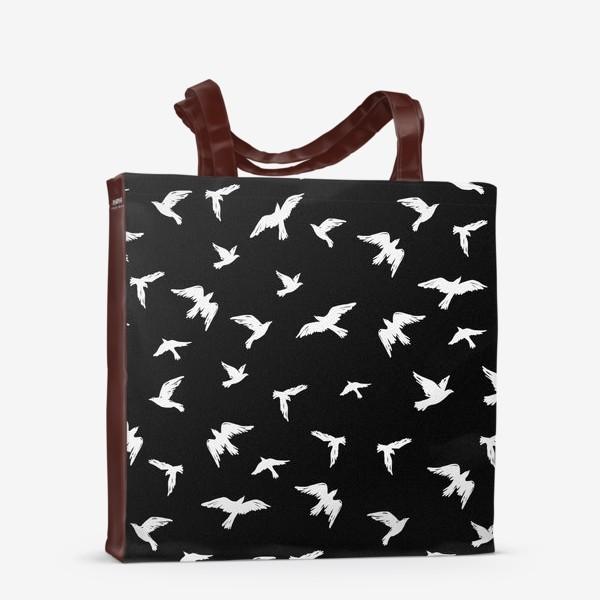 Сумка-шоппер «Птицы на чёрном»