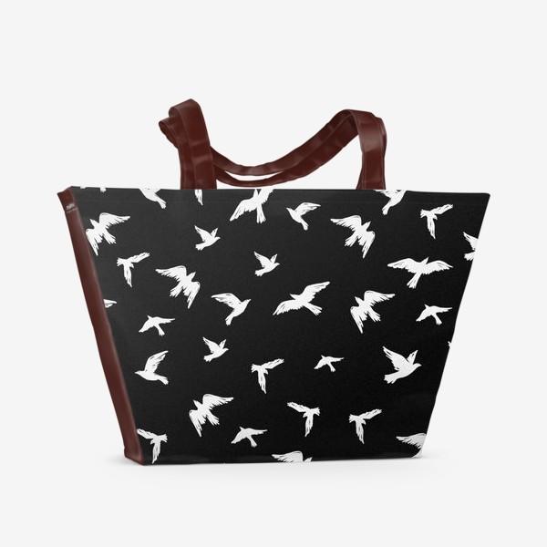 Пляжная сумка «Птицы на чёрном»
