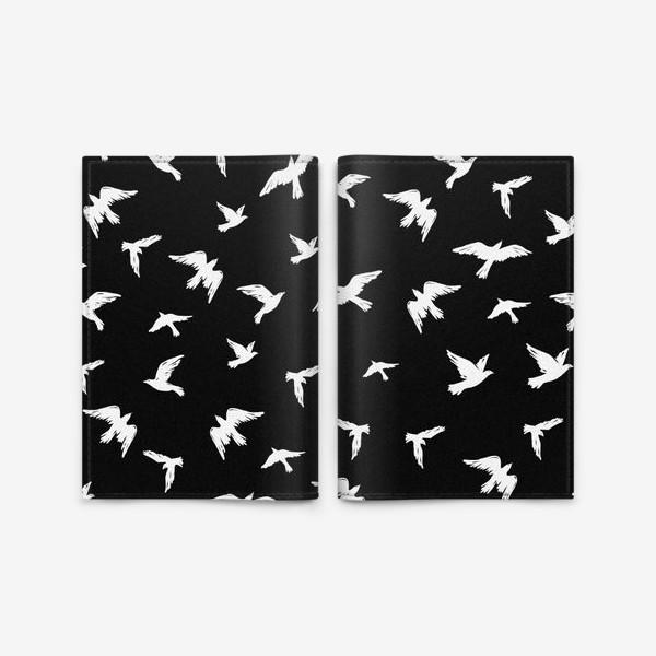 Обложка для паспорта «Птицы на чёрном»