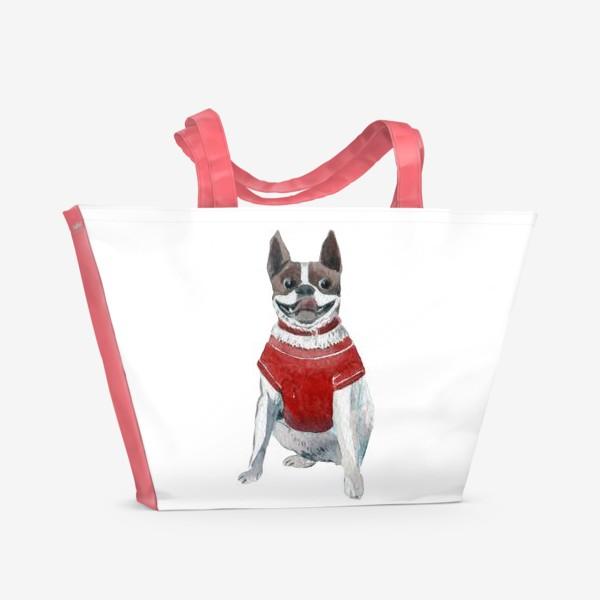 Пляжная сумка «Бульдог в красной майке»