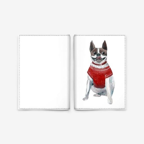 Обложка для паспорта «Бульдог в красной майке»