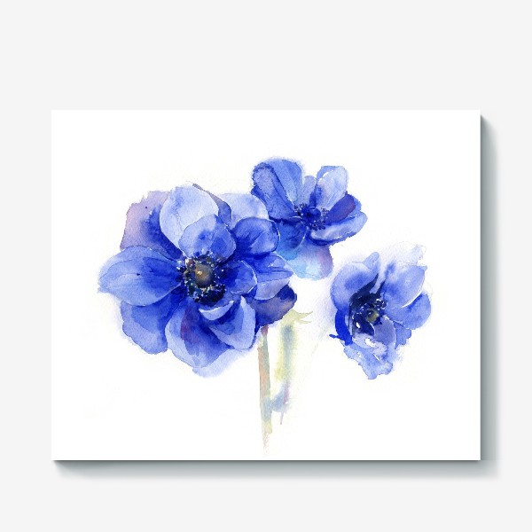 Холст «Синие цветы Анемоны»