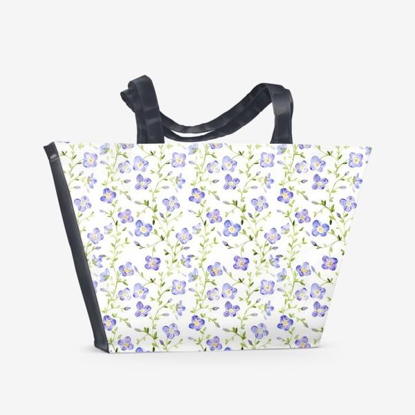 Пляжная сумка «Паттерн Нежные цветы»