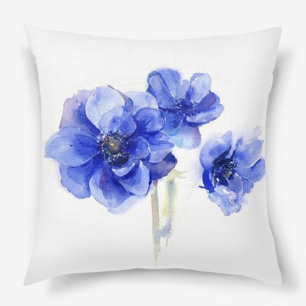Подушка «Синие цветы Анемоны»