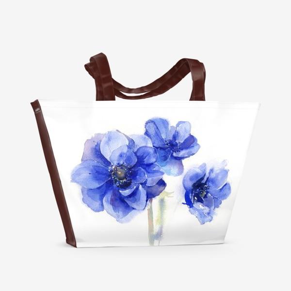 Пляжная сумка «Синие цветы Анемоны»