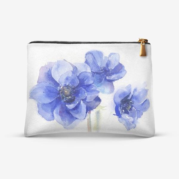 Косметичка «Синие цветы Анемоны»