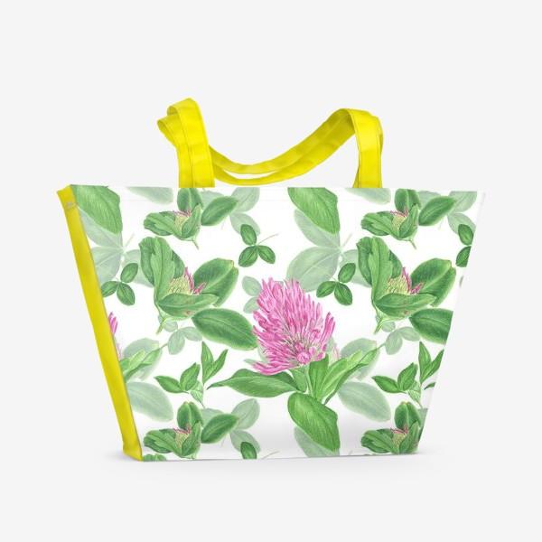 Пляжная сумка «Цветы и листья клевера»