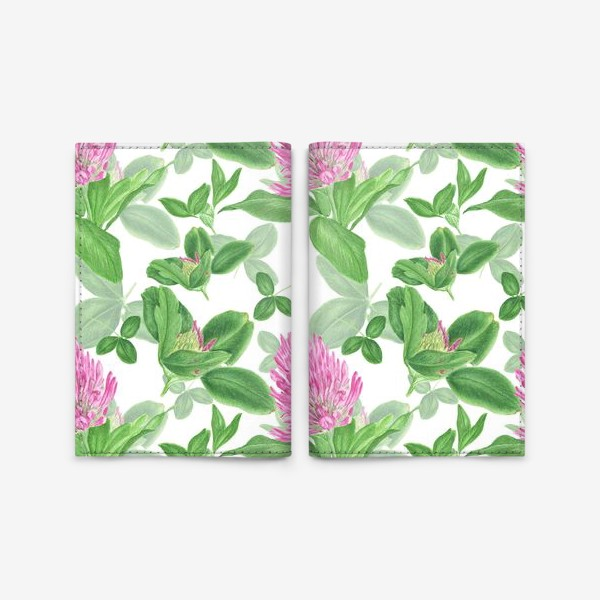 Обложка для паспорта «Цветы и листья клевера»