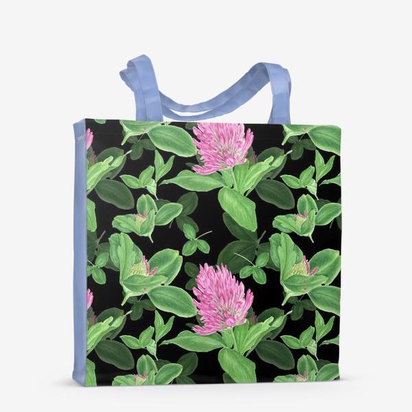 Сумка-шоппер «Цветы и листья клевера на черном фоне»