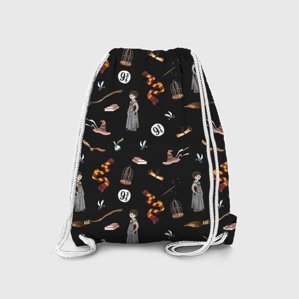 Рюкзак «магические вещи на черном фоне (акварель)»