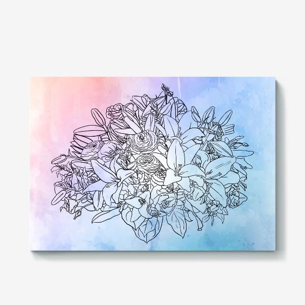 Холст «Букет с лилиями»
