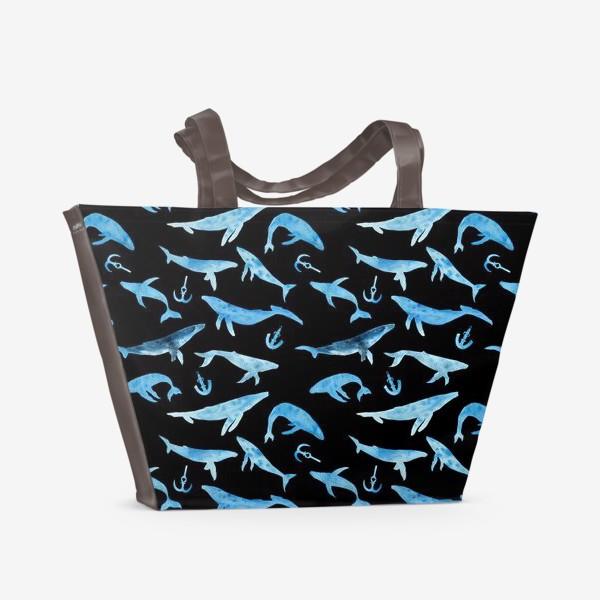 Пляжная сумка «Watercolor whales»
