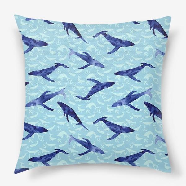 Подушка «Blue whales»
