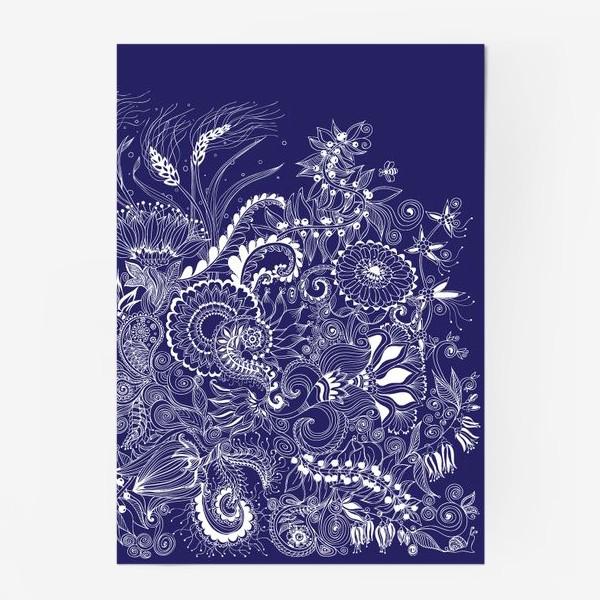 Постер «Белые на синем, дудлинг»
