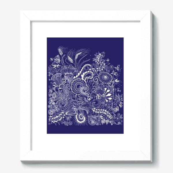 Картина «Белые на синем, дудлинг»
